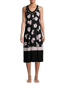 Floral Black Soot Sleeveless Midi Dress Gown