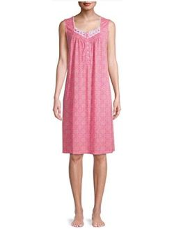 Completely Pink Print Sleeveless Gown Nightgown