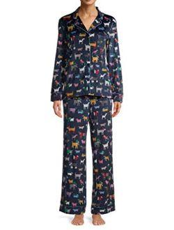 Puppy Dog Print Blue Cove Long Sleeve Notch Collar Pajama Sleep Set