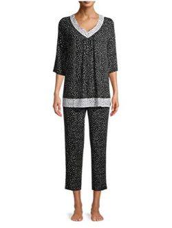 Dots Black Soot 3/4 Sleeve V-Neck Pajama Sleep Set