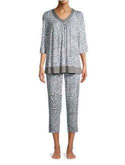 Animal Arctic White 3/4 Sleeve V-Neck Pajama Sleep Set
