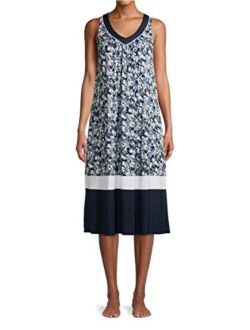 Ditsy Floral Blue Cove Sleeveless Midi Dress Gown