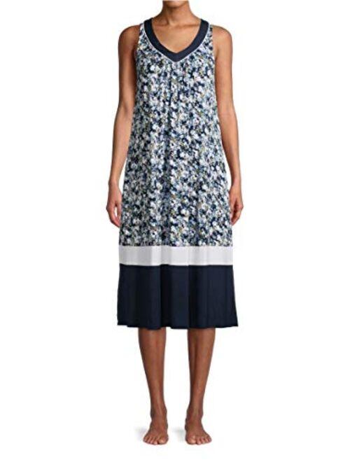 Secret Treasures Ditsy Floral Blue Cove Sleeveless Midi Dress Gown