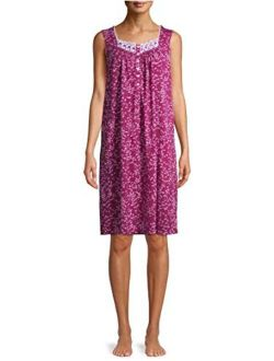 Floral Print Berry Bright Sleeveless Gown Nightgown