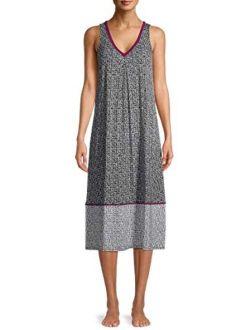 Black Soot Dot Midi Chemise Sleepwear Dress