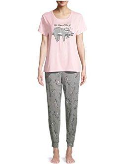 All About Naps Sloth Pink Jogger Pajama Sleep Set