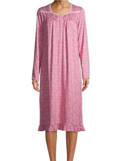 Damask Tea Rose Pink Square Neck Long Sleeve Velour Gown Nightgown