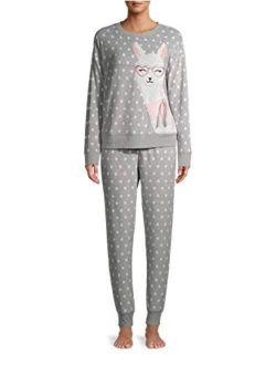 Llama Greystone Plush Pajama Sleep Set