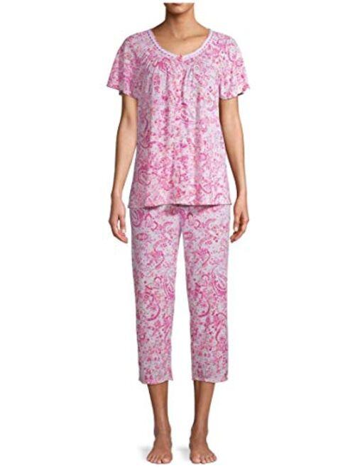 Secret Treasures Floral Completely Pink V-Neck Top & Capri Pajama Sleep Set