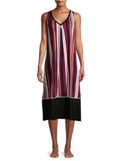 Black Soot Stripe Midi Chemise Sleepwear Dress