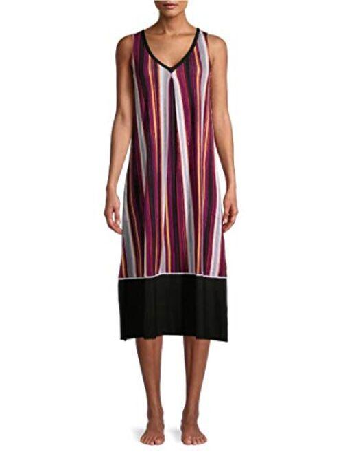 Secret Treasures Black Soot Stripe Midi Chemise Sleepwear Dress