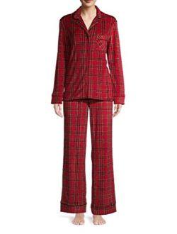 Brilliant Red Plaid Long Sleeve Notch Collar Pajama Sleep Set