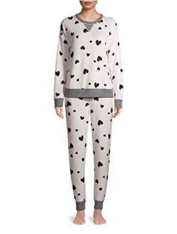 Hearts Arctic White Plush Pajama Sleep Set