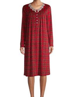 Brilliant Red Plaid V-Neck Long Sleeve Velour Gown Nightgown