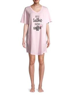 Less Talkie More Coffee Dreamy Pink Nightgown Long Sleepshirt