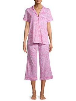 Paisley Completely Pink Notch Collar Top & Capri Pajama Sleep Set
