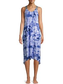 Blue Tie Dye Midi Chemise Sleepwear Dress