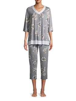 Floral Heather Grey 3/4 Sleeve V-Neck Pajama Sleep Set