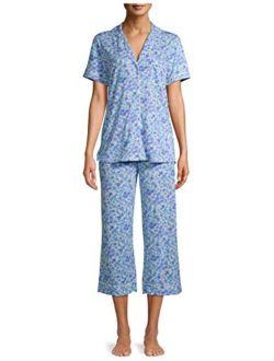 Floral Blue Birch Notch Collar Top & Capri Pajama Sleep Set