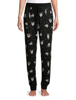 Christmas Sloth Print Black Soot Hacci Sleep Jogger Pants