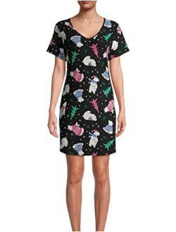 Polar Bear All Over Print Black Soot Nightgown Long Sleepshirt