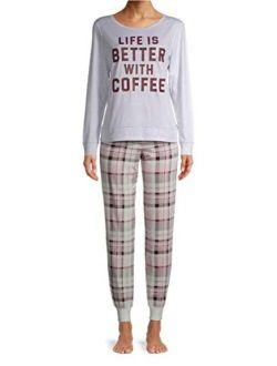 Life is Better with Coffee Platinum Silver Heather Pajama Sleep Set