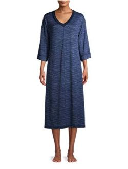Texture Blue Cove 3/4 Sleeves Midi Lounger Gown