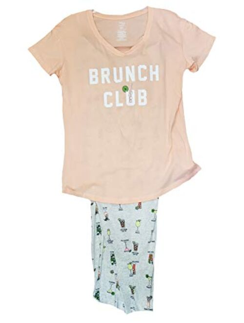 Secret Treasures Brunch Club Peach Sorbet Tee & Capri Knit Pajama Sleep Set