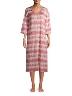 Mauve Tie Dye 3/4 Sleeves Midi Lounger Gown