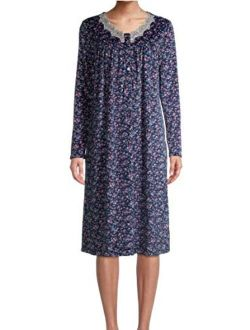 Ditsy Floral Blue Cove V-Neck Long Sleeve Velour Gown Nightgown