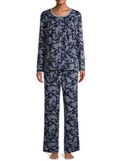 Blue Cove Paisley Long Sleeve V-Neck Pajama Sleep Set