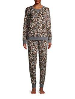 Animal Print Plush Pajama Sleep Set
