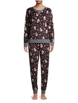 Cocoa Print Black Soot Plush Pajama Sleep Set