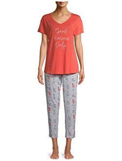 Good Karma Only Coral Sunshine Tee & Capri Knit Pajama Set