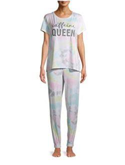 Caffeine Queen Tie Dye Jogger Pajama Sleep Set
