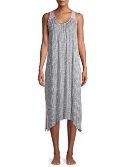 Gray Tie Dye Stripe Midi Chemise Sleepwear Dress