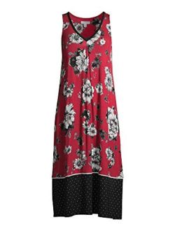 Women's And Women's Plus Modern Midi Chemise - Red Fever Floral