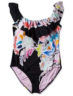 Trina Turk Women's Off-The-Shoulder Ruffle Bandeau One Piece Swimsuit
