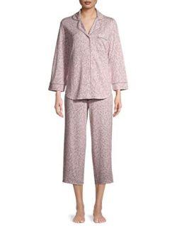 Animal Dreamy Pink 3/4 Sleeve Notch Collar Pajama Sleep Set