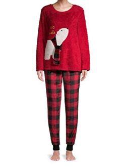 Polar Bear It's Cold Outside Brilliant Red Plush Pajama Sleep Set