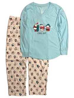 Womens Blue & Cream Penguin Chill Out Holiday Pajamas Christmas Sleep Set