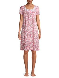 Floral Print Pink Sapphire Flutter Sleeve Gown Nightgown