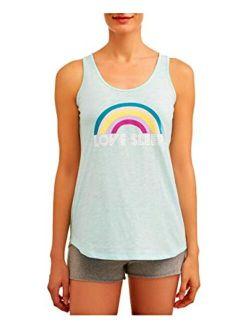 Love Sleep Rainbow Aqua Cloud Knit Sleep Tank Top