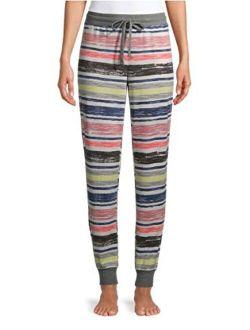 Multi Stripe Winter White Hacci Jogger Lounge Sleep Pants