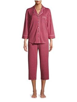Geo Bewitching Coral 3/4 Sleeve Notch Collar Pajama Sleep Set