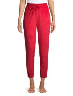 Brilliant Red Velour Jogger Sleep Pants
