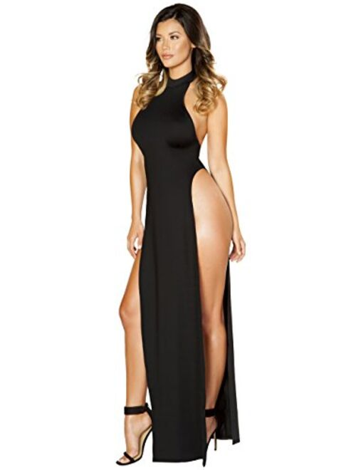 Sexy Magic City Halterneck Maxi Dress with High Slits