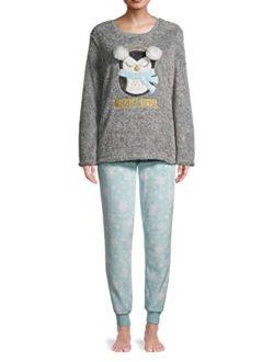 Night Owl Frosted Grey Plush Pajama Sleep Set