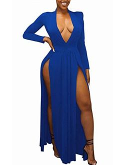 Choichic High Slit Dresses for Women Long Sleeve V Neck Formal Party Maxi Dress Evening Gown