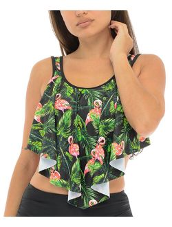 SBS Fashion | Black Tropical-Flamingo Ruffle Bikini Top & High-Waist Bottoms - Women